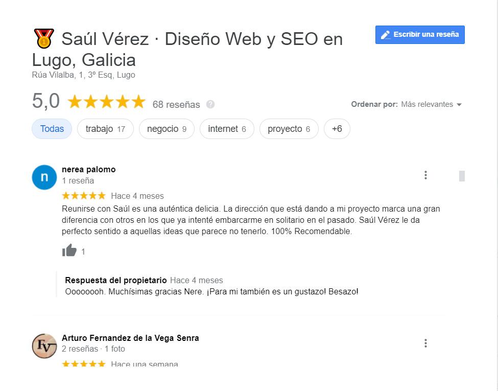 reseñas en Google de Saúl Vérez